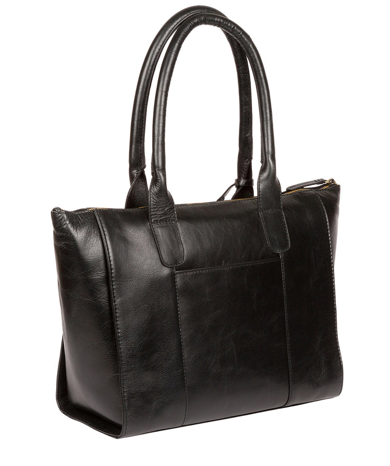'Quinn' Ebony Leather Tote Bag image 3