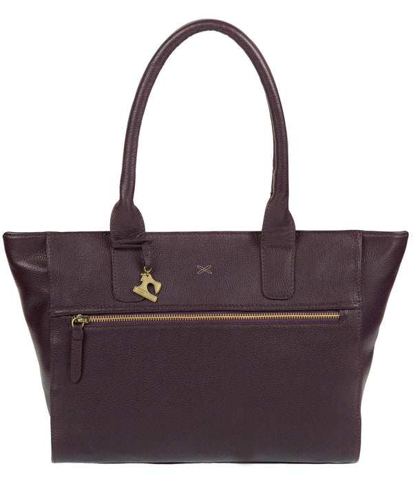'Quinn' Plum Leather Tote Bag image 1