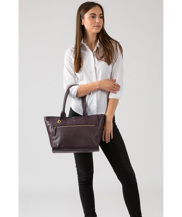 'Quinn' Plum Leather Tote Bag image 2