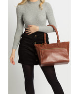 'Quinn' Whiskey Leather Tote Bag image 2