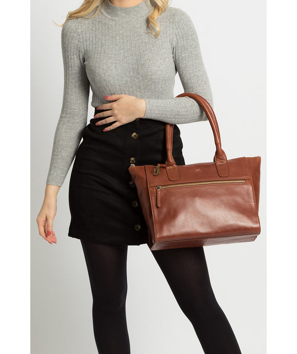'Quinn' Whiskey Leather Tote Bag Pure Luxuries London