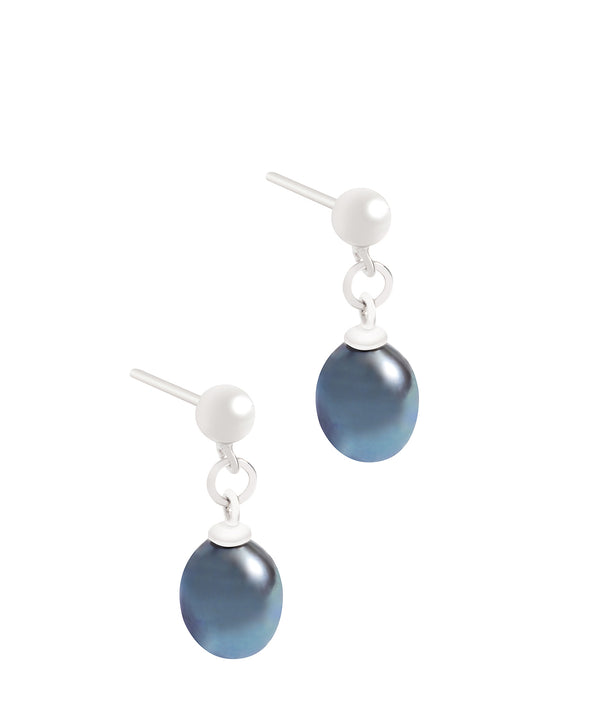 'Wava' 7-7.5mm Peacock Freshwater Button Pearl Drop Earrings