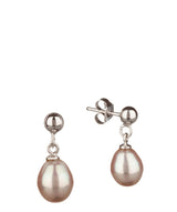 'Saphira' 7-7.5mm Pink Pearl Earrings