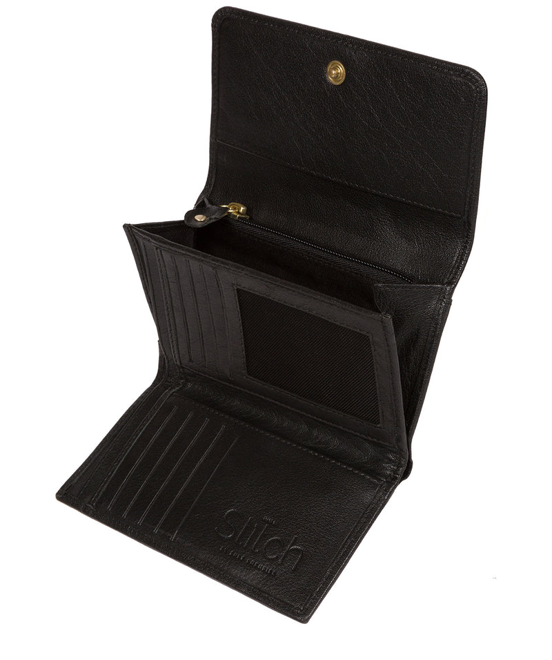 'Dina' Black Tri-Fold Leather Purse image 3