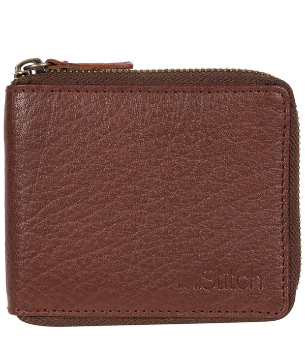 'Wakeman' Brown Leather Zip Round Wallet image 1