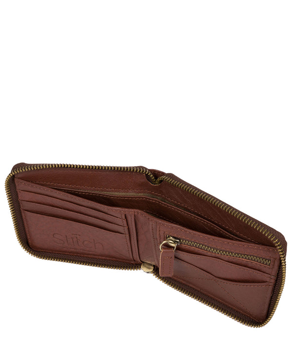 'Wakeman' Brown Leather Zip Round Wallet image 3