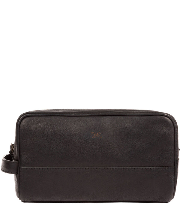 'Bowfell' Black Leather Washbag image 1