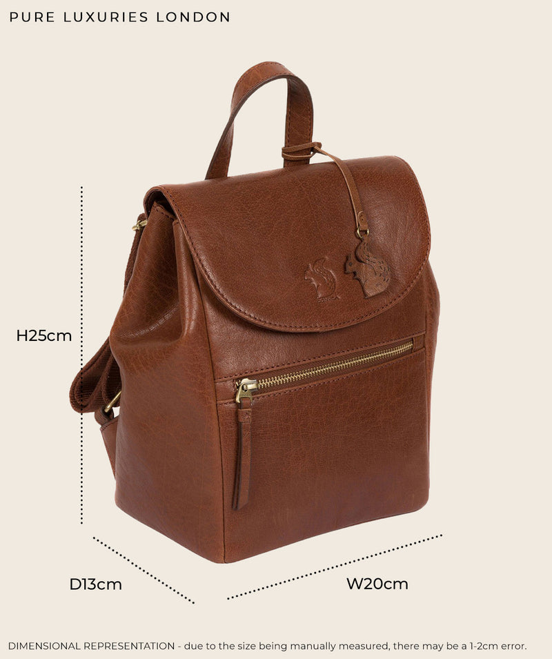 'Simone' Dark Tan Leather Backpack
