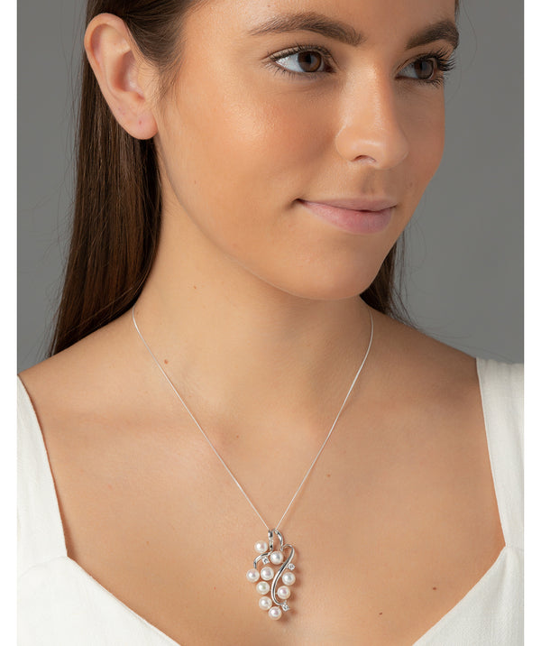 'Vinum' White River Pearl & Cubic Zirconia Silver Necklace