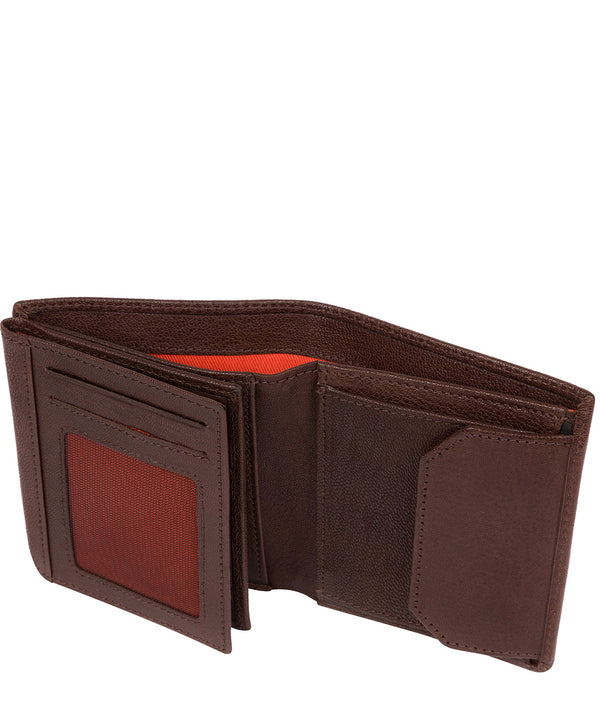 'Portus' Dark Brown Tri-Fold Leather Wallet image 3