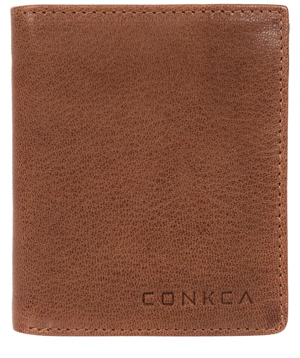 'Portus' Conker Brown Tri-Fold Leather Wallet image 1