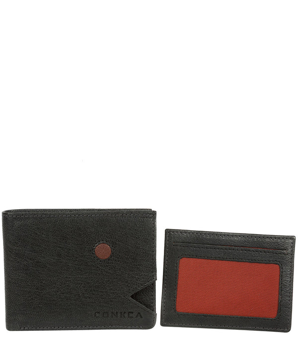 'Max' Black Bi-Fold Leather Wallet image 3
