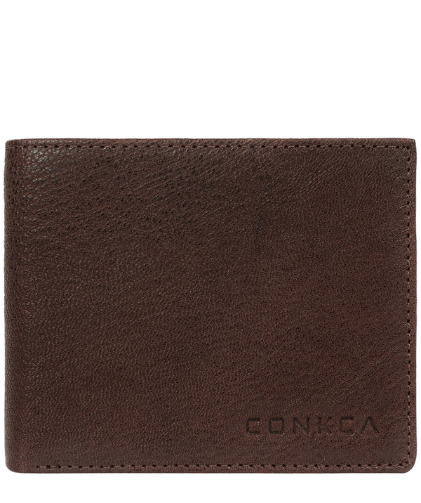 'Saul' Dark Brown Tri-Fold Leather Wallet image 1