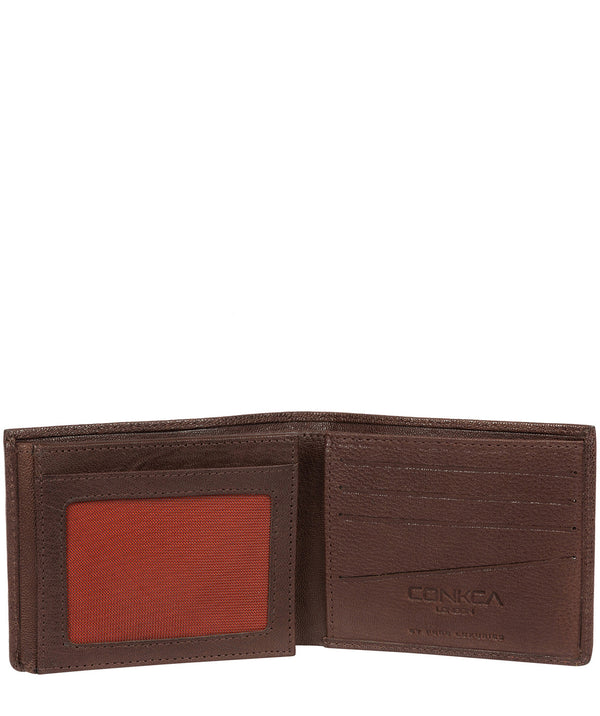 'Saul' Dark Brown Tri-Fold Leather Wallet image 3