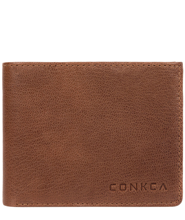 'Saul' Conker Brown Tri-Fold Leather Wallet image 1