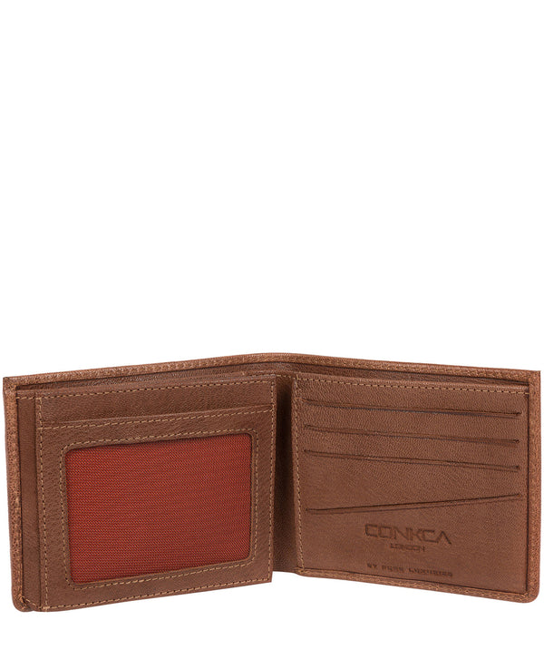 'Saul' Conker Brown Tri-Fold Leather Wallet image 3