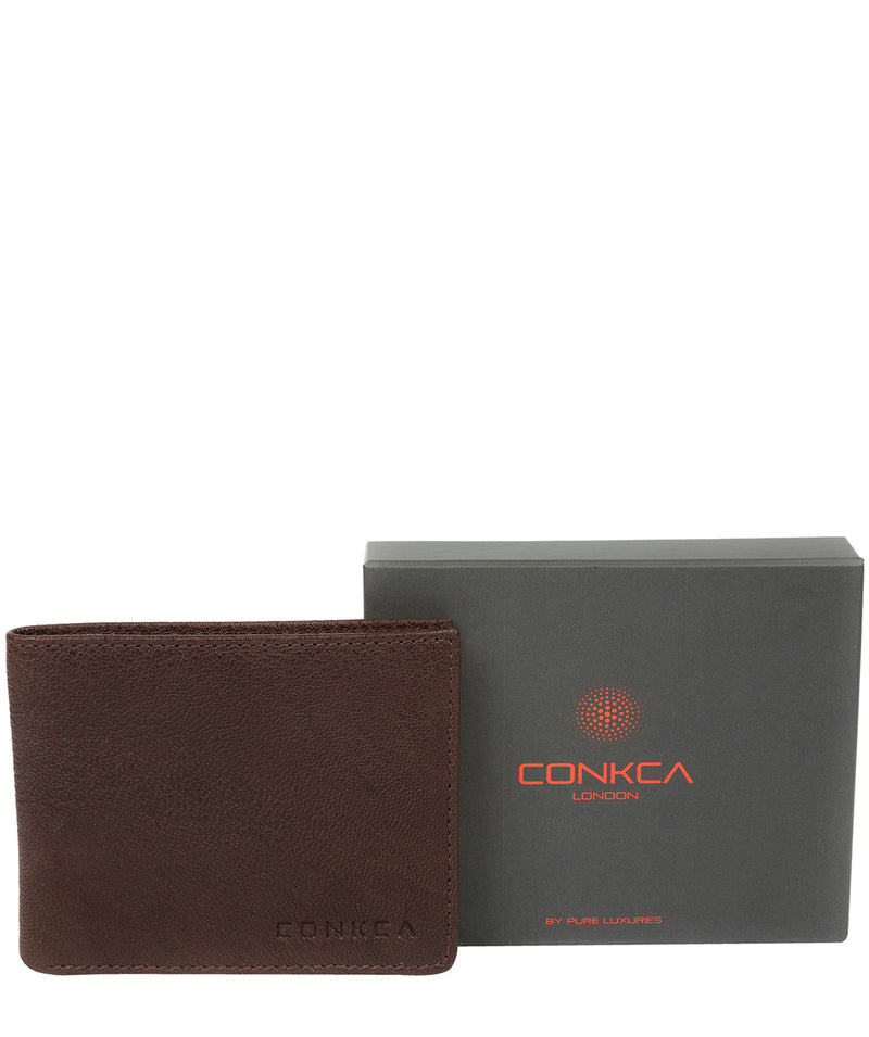'Alston' Dark Brown Bi-Fold Leather Wallet