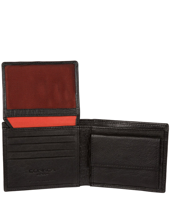 'Edge' Black Bi-Fold Leather RFID Wallet image 3