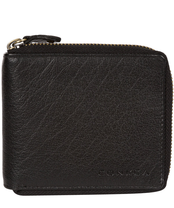 'Krieger' Black Zip Round Leather Wallet image 1
