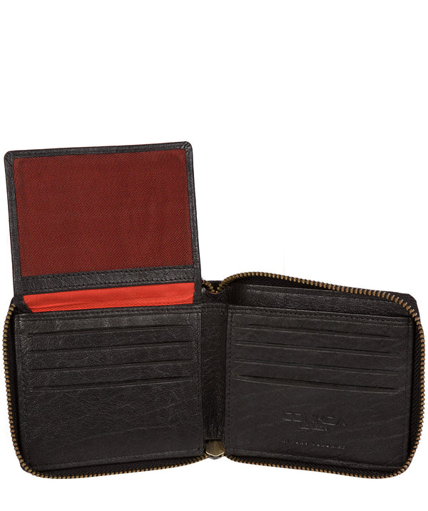'Krieger' Black Zip Round Leather Wallet image 3