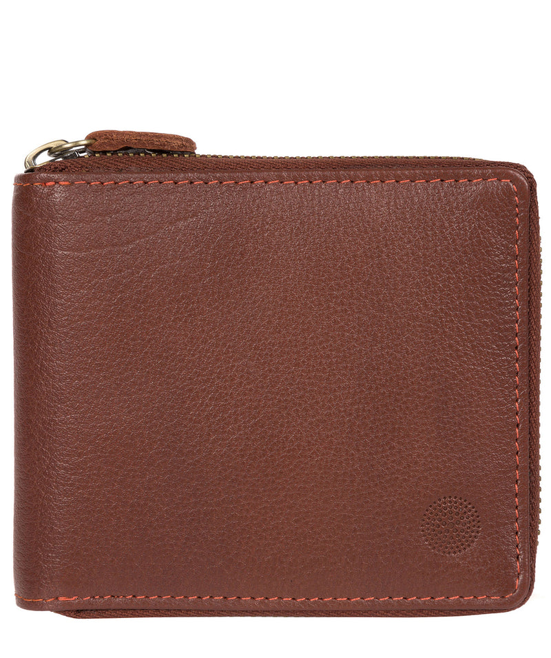 'Morrison' Conker Brown Zip Round Leather Wallet image 1