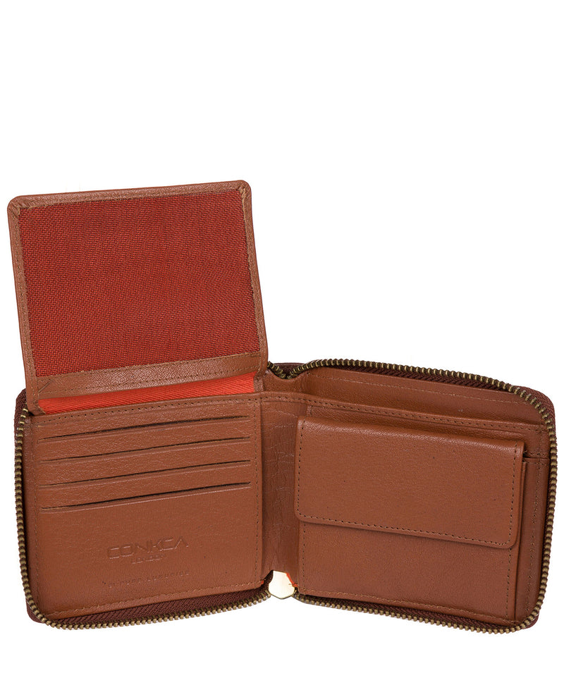 'Morrison' Conker Brown Zip Round Leather Wallet image 3