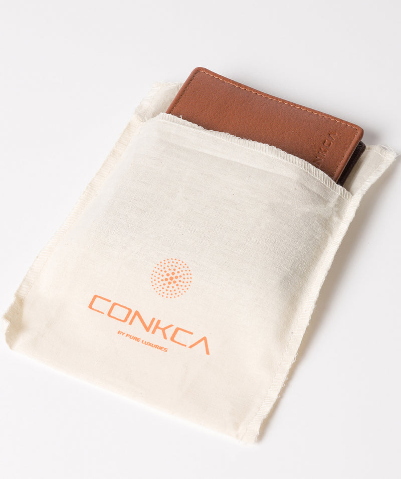 'Conan' Chestnut and Dark Brown Bi-Fold Leather Wallet image 5