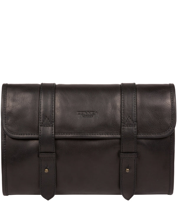 'Mere' Black Leather Hanging Washbag image 1