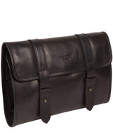 'Mere' Black Leather Hanging Washbag image 5