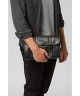 'Mere' Black Leather Hanging Washbag image 2
