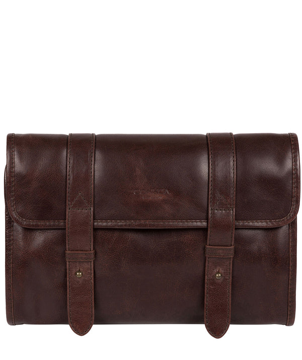 'Mere' Dark Brown Hanging Washbag Pure Luxuries London