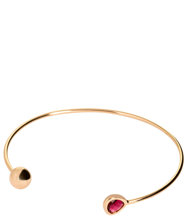'Aimee' Gold Plate & Red Glass Bangle