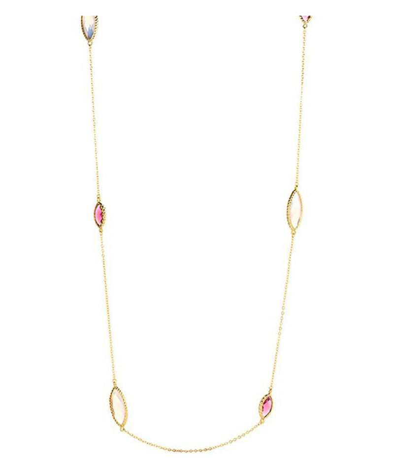 'Priscila' Gold Plated Glass Gem Necklace