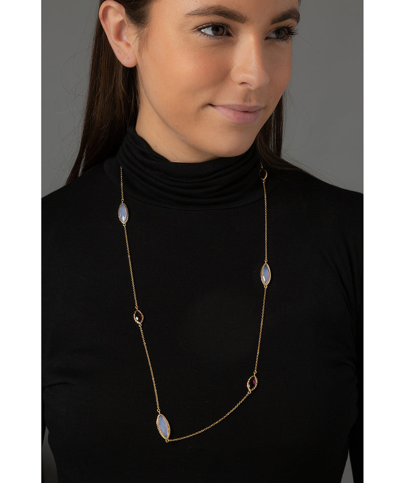 'Priscila' Gold Plated Glass Gem Necklace Pure Luxuries London