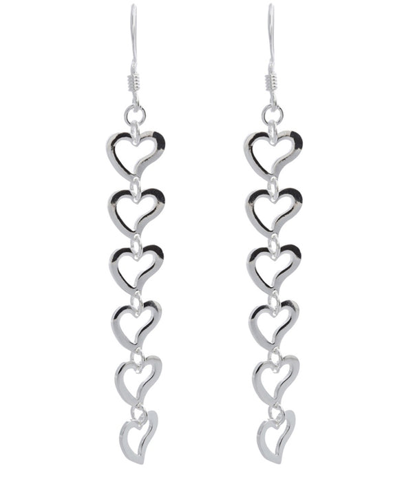 'Rosalie' Sterling Silver Heart Drop Earrings