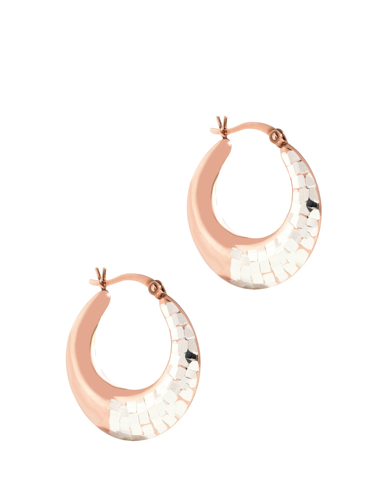Gift Packaged 'Erato' Sterling Silver & Rose Gold Plated Silver Deco Creole Earrings