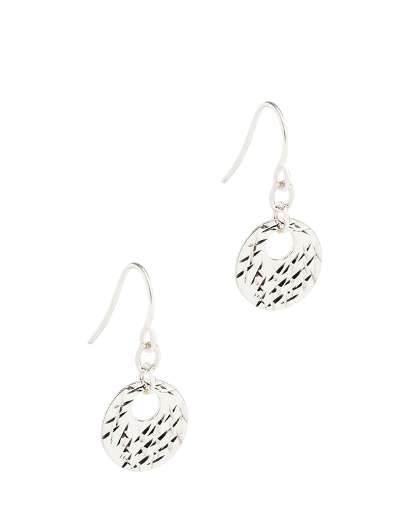 Gift Packaged 'Polyhynia' Sterling Silver Diamond Cut Flat Disc Drop Earrings
