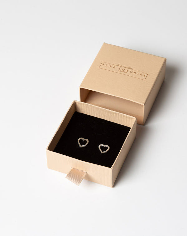 'Styx' Sterling Silver and Cubic Zirconia Floating Heart Stud Earrings