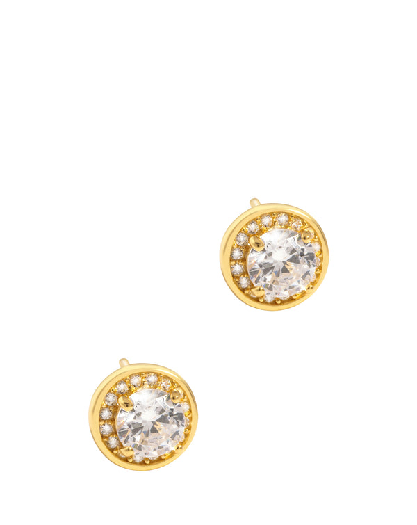'Eos' Yellow Gold Plated Sterling Silver with Round Halo Cubic Zirconia Stud Earrings