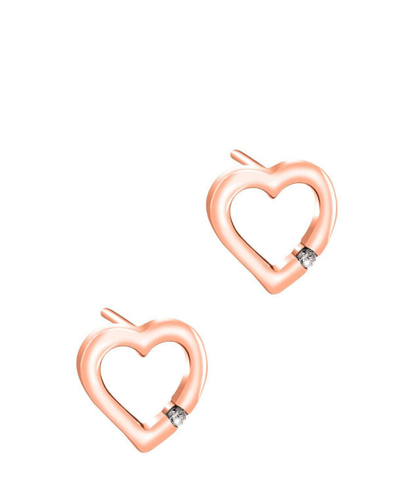 Gift Packaged 'Aphaea' Rose Gold Plated Sterling Silver Cutout Heart with Cubic Zirconia Stud Earrings