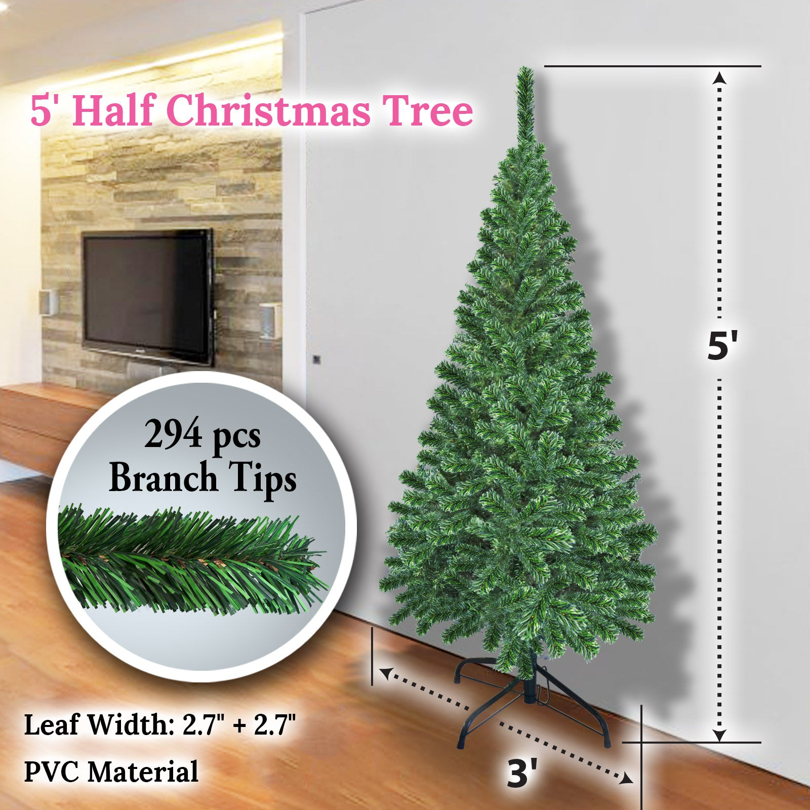 5 6 Artificial Wall Space Saving Half Corner Christmas Tree With Stee Sunny Outdoor Us