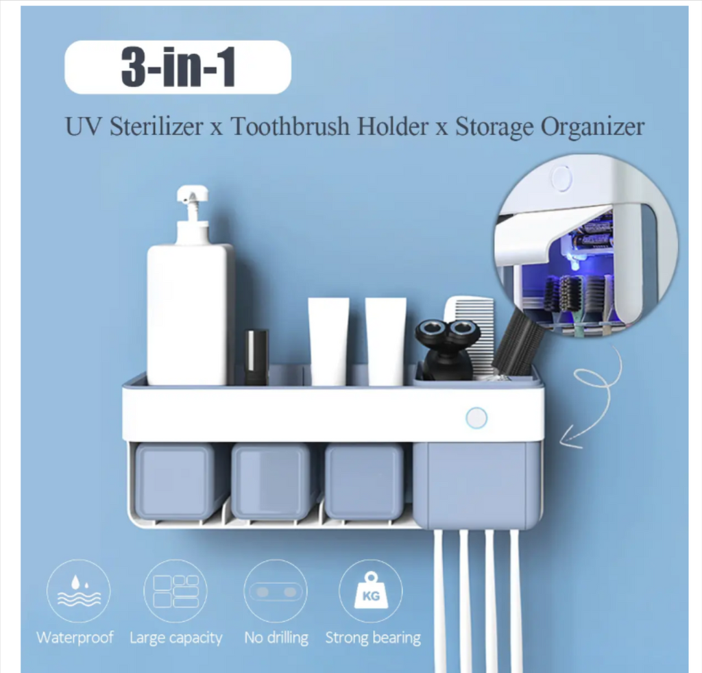 Steri-Brush™ Toothbrush UV Sterilizer Holder Antibacterial Sanitizer Storage Organizer