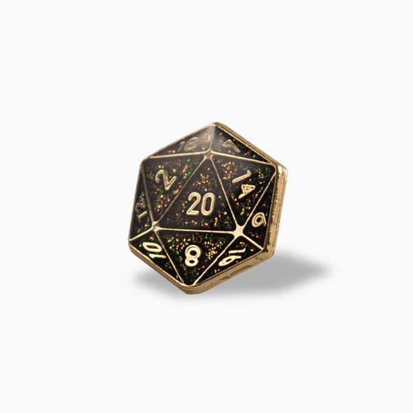 Weapon of Choice D20 Lapel Pin (Black/Gold)