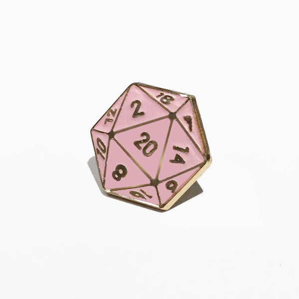 Weapon of Choice D20 Lapel Pin (Pink)