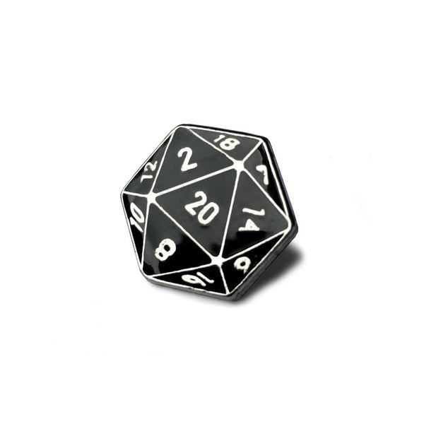 Weapon of Choice D20 Lapel Pin (Black/Silver)