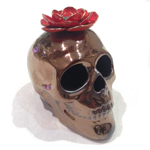 Julie Moon Skull with Single Flower (red)