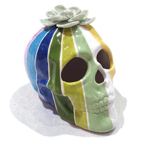 Julie Moon Rainbow Skull with Single Flower Lustre
