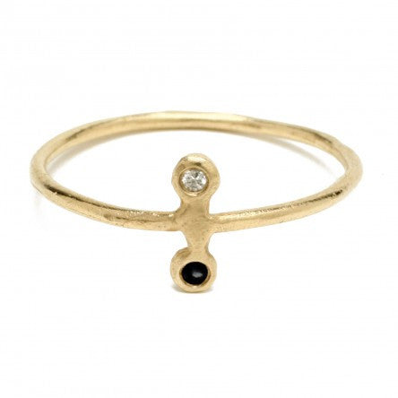 Odette Satellite Ring with Black & White Diamonds (14K Gold)