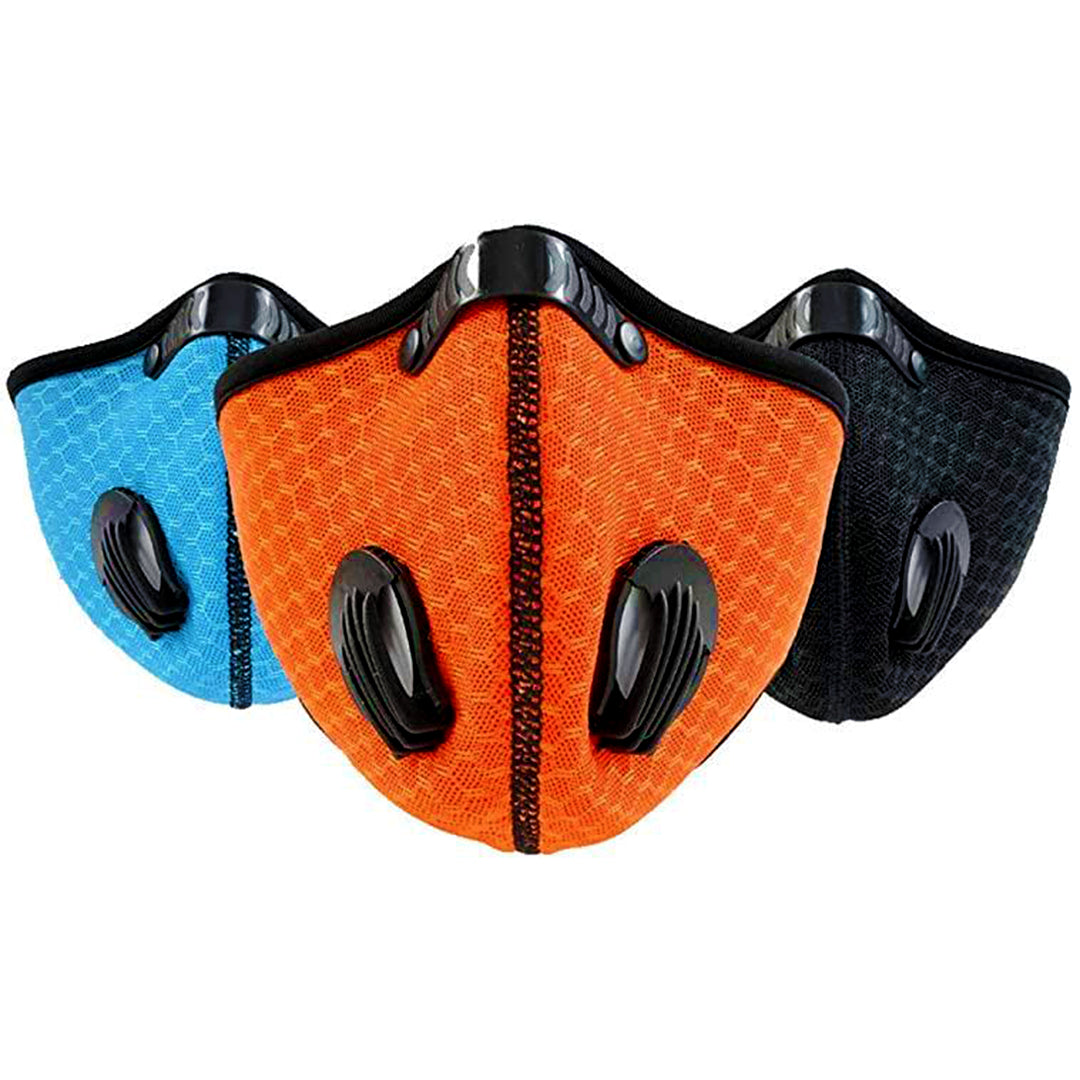 Sport Mask with Exhalation Valves and Activated Carbon Filter