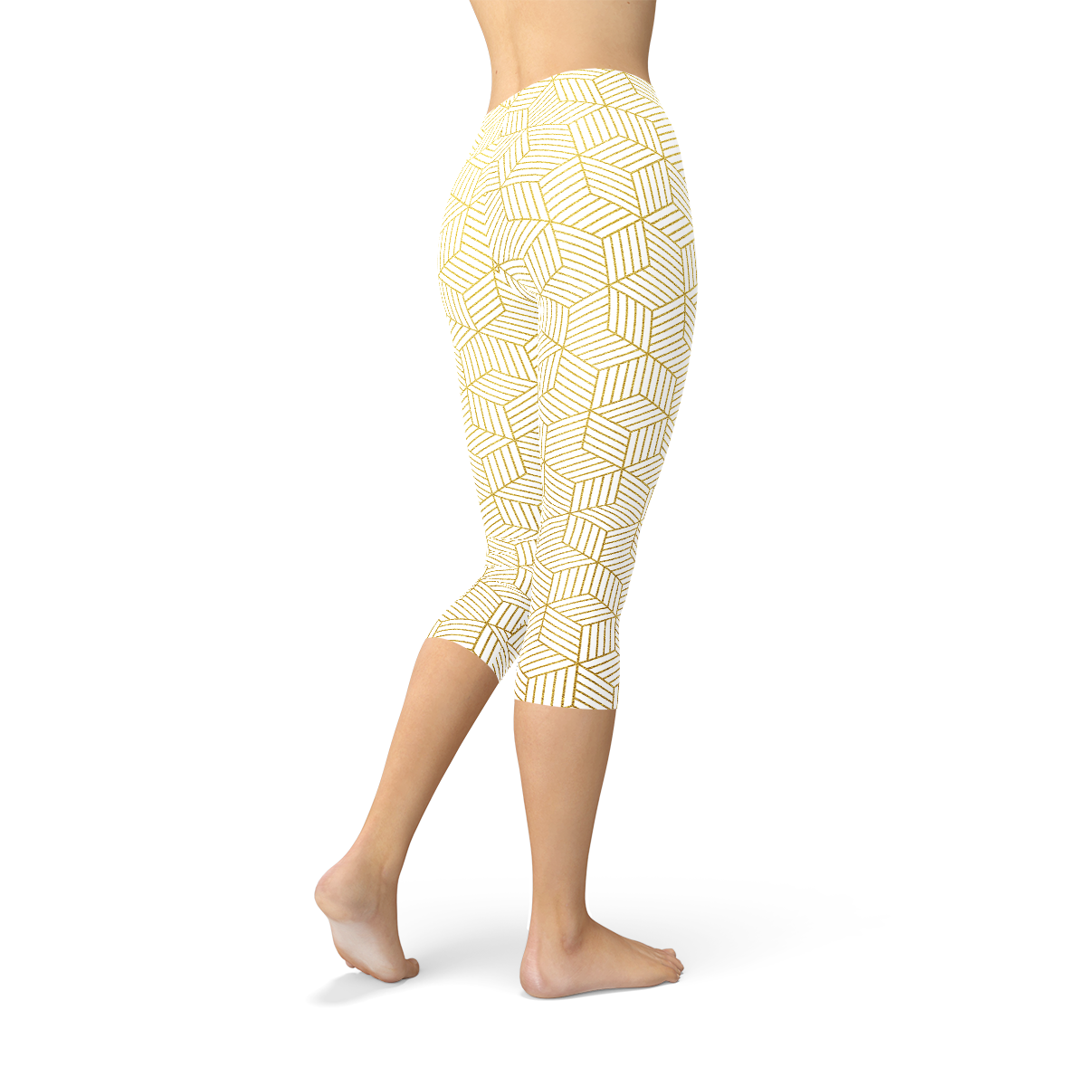Womens White Capri Leggings w/ Geometric Cubes